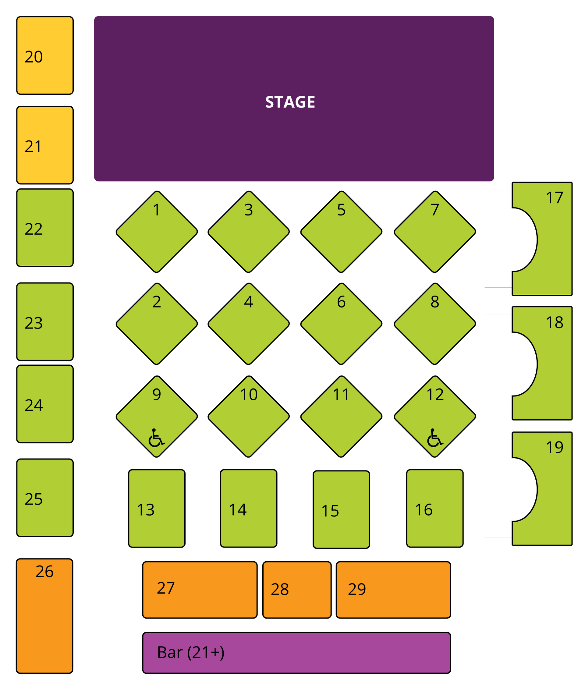 Martinis Above Fourth | Table + Stage seating chart